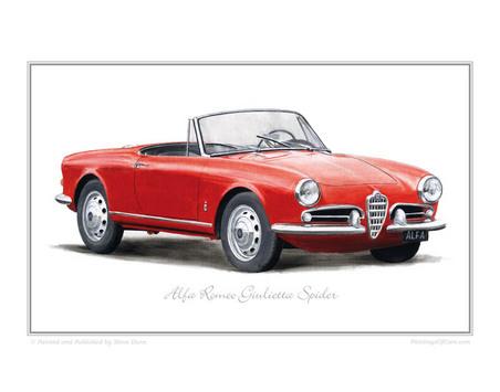 1955 Alfa Romeo Giulietta Spider. Alfa Romeo Giulietta Spider (1955-65) Classic Car Oil Painting - Fine Art Print